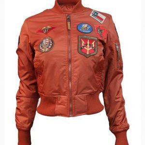 Womens Top Gun MA-1 Rust Bomber Jacket
