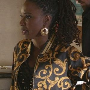 Veronica's Black And Yellow Printed Bomber Jacket On Shameless