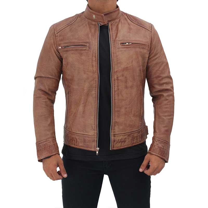 Dodge Leather Distressed Cafe Racer Leather Jacket