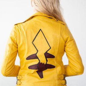 Womens Pikachu Yellow Leather Jacket