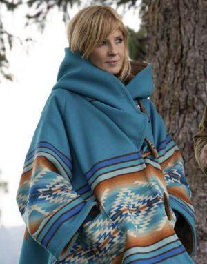 Yellowstone Season 03 Beth Dutton Blue Hooded Coat